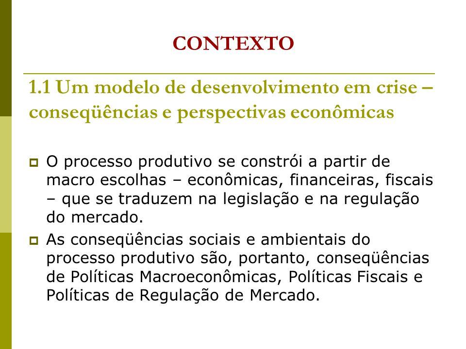 1.1 Um modelo de desenvolvimento em crise – conseqüências e perspectivas econômicas O processo produtivo se constrói a partir de macro escolhas – econômicas, financeiras, fiscais – que se traduzem na legislação e na regulação do mercado.