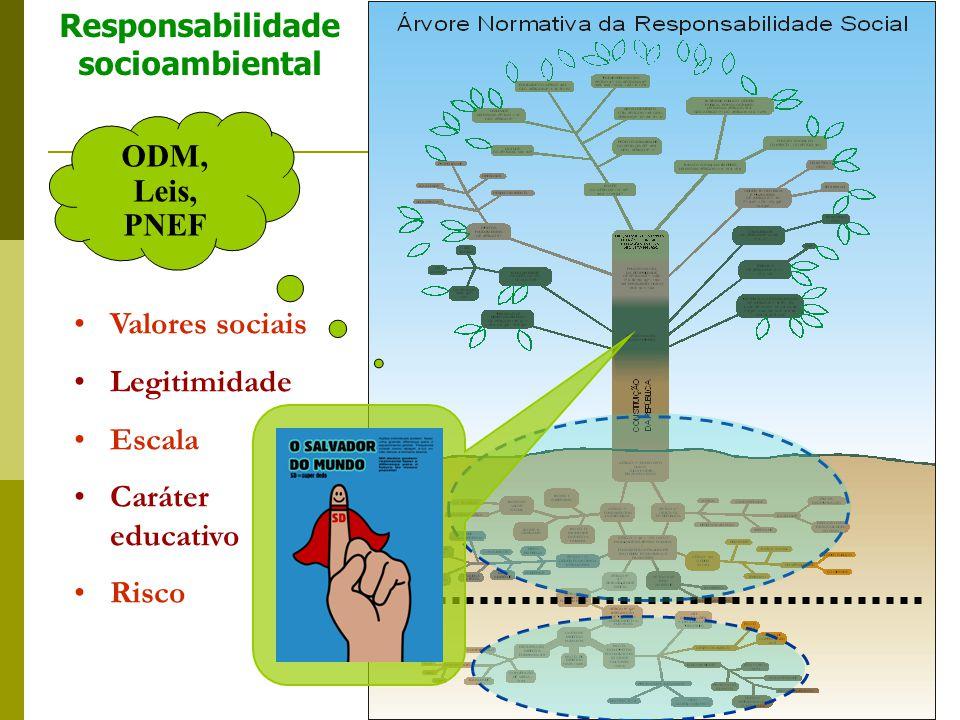 Responsabilidade socioambiental Valores sociais Legitimidade Escala Caráter educativo Risco ODM, Leis, PNEF