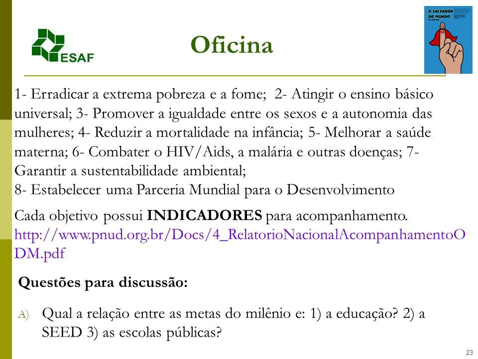 23 Oficina Questões para discussão: A) Qual a relação entre as metas do milênio e: 1) a educação.