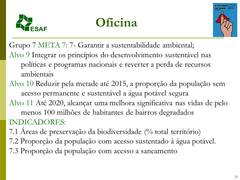 30 Oficina Grupo 7 META 7: 7- Garantir a sustentabilidade ambiental; Alvo 9 Integrar os princípios do desenvolvimento sustentável nas políticas e programas nacionais e reverter a perda de recursos ambientais Alvo 10 Reduzir pela metade até 2015, a proporção da população sem acesso permanente e sustentável a água potável segura Alvo 11 Até 2020, alcançar uma melhora significativa nas vidas de pelo menos 100 milhões de habitantes de bairros degradados INDICADORES: 7.1 Áreas de preservação da biodiversidade (% total território) 7.2 Proporção da população com acesso sustentado à água potável.