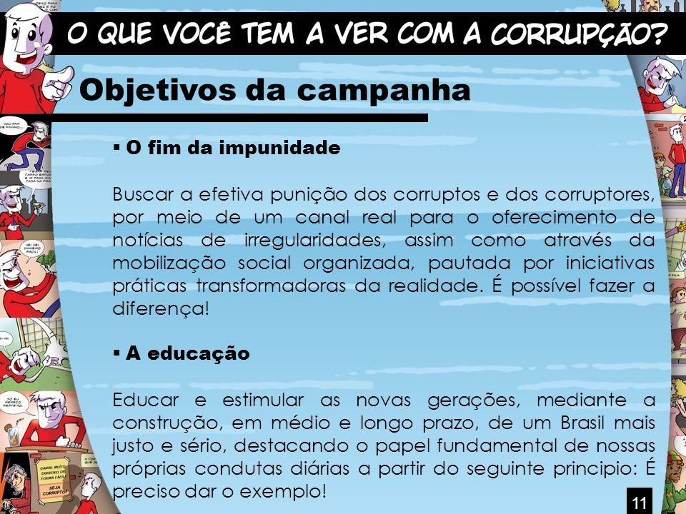 11 Objetivos da campanha O fim da impunidade Buscar a efetiva punição dos corruptos e dos corruptores, por meio de um canal real para o oferecimento d