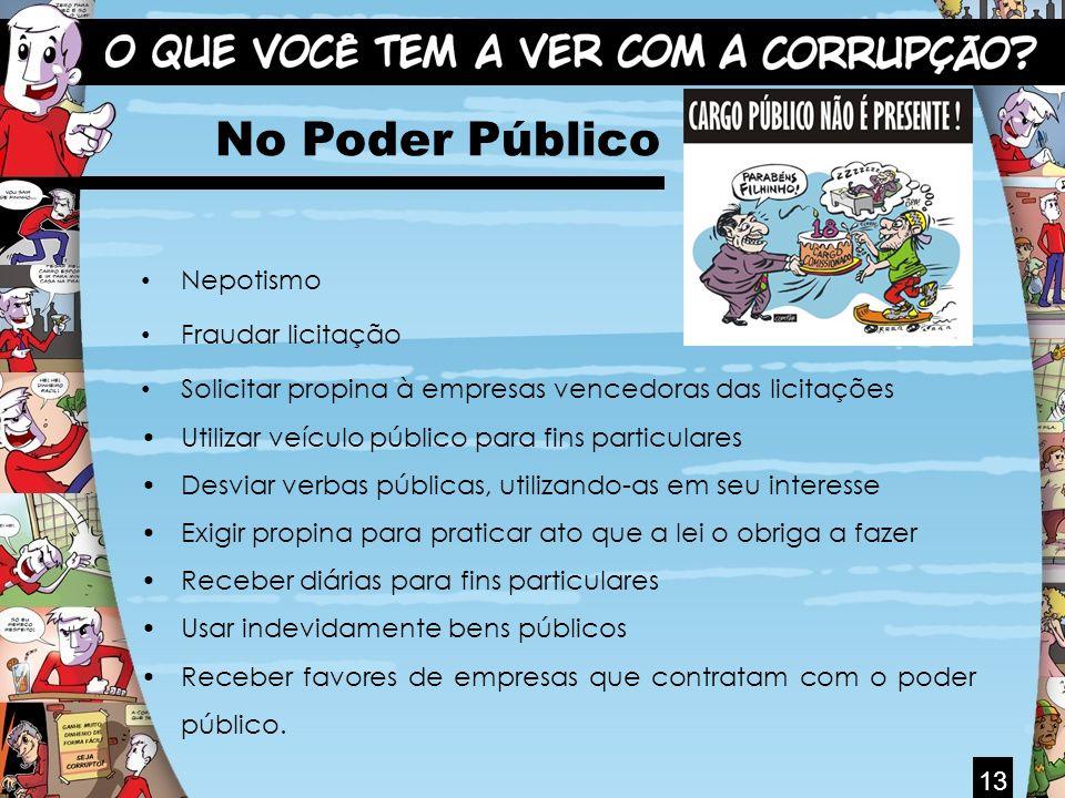 13 No Poder Público Nepotismo Fraudar licitação Solicitar propina à empresas vencedoras das licitações Utilizar veículo público para fins particulares