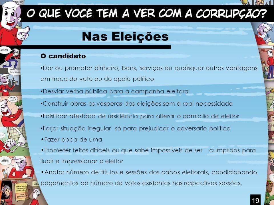 19 Nas Eleições O candidato Dar ou prometer dinheiro, bens, serviços ou quaisquer outras vantagens em troca do voto ou do apoio político Desviar verba