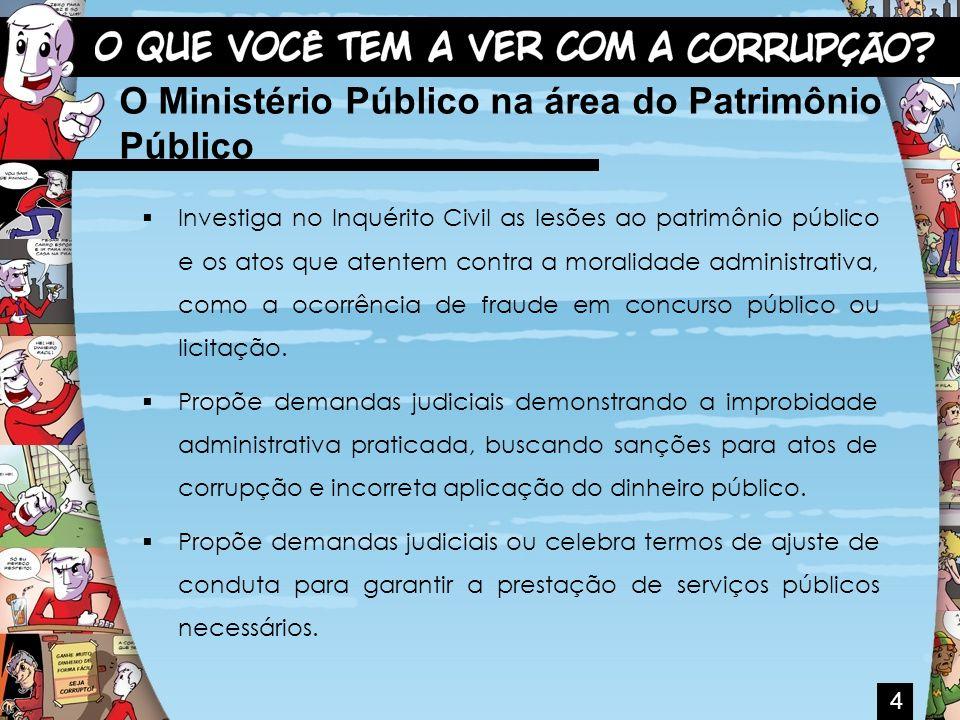 Investiga no Inquérito Civil as lesões ao patrimônio público e os atos que atentem contra a moralidade administrativa, como a ocorrência de fraude em