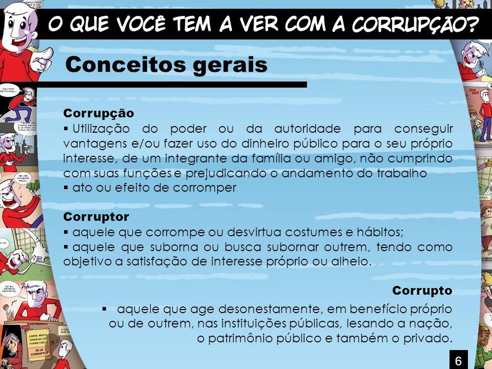 6 Conceitos gerais Corrupção Utilização do poder ou da autoridade para conseguir vantagens e/ou fazer uso do dinheiro público para o seu próprio inter