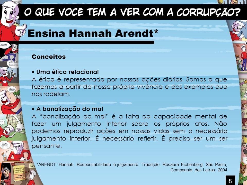 8 Ensina Hannah Arendt* Conceitos Uma ética relacional A ética é representada por nossas ações diárias. Somos o que fazemos a partir da nossa própria