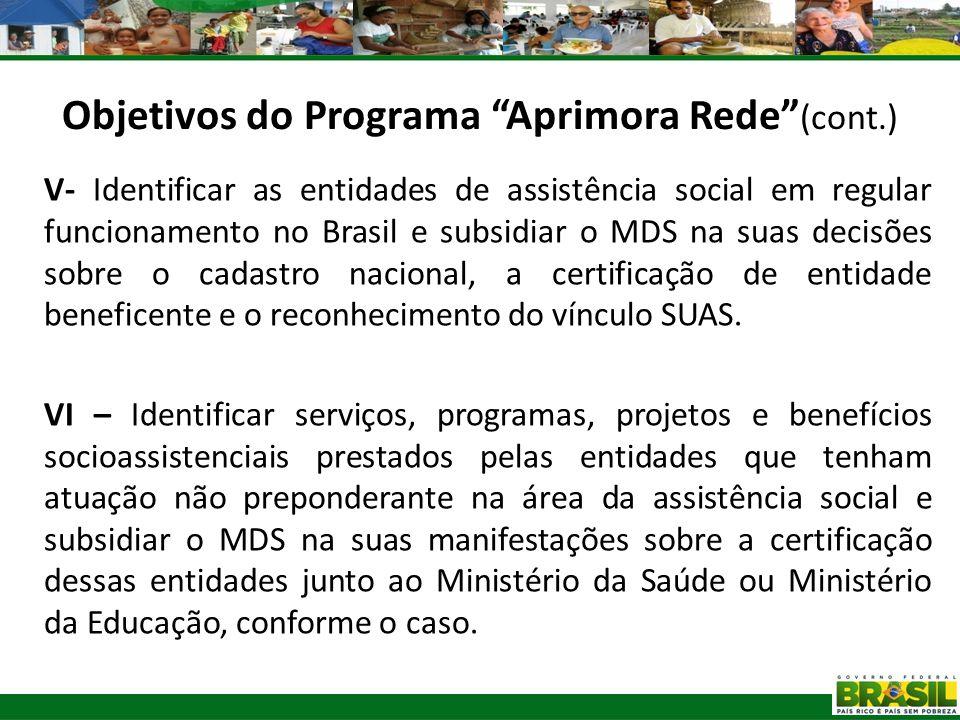 V- Identificar as entidades de assistência social em regular funcionamento no Brasil e subsidiar o MDS na suas decisões sobre o cadastro nacional, a c
