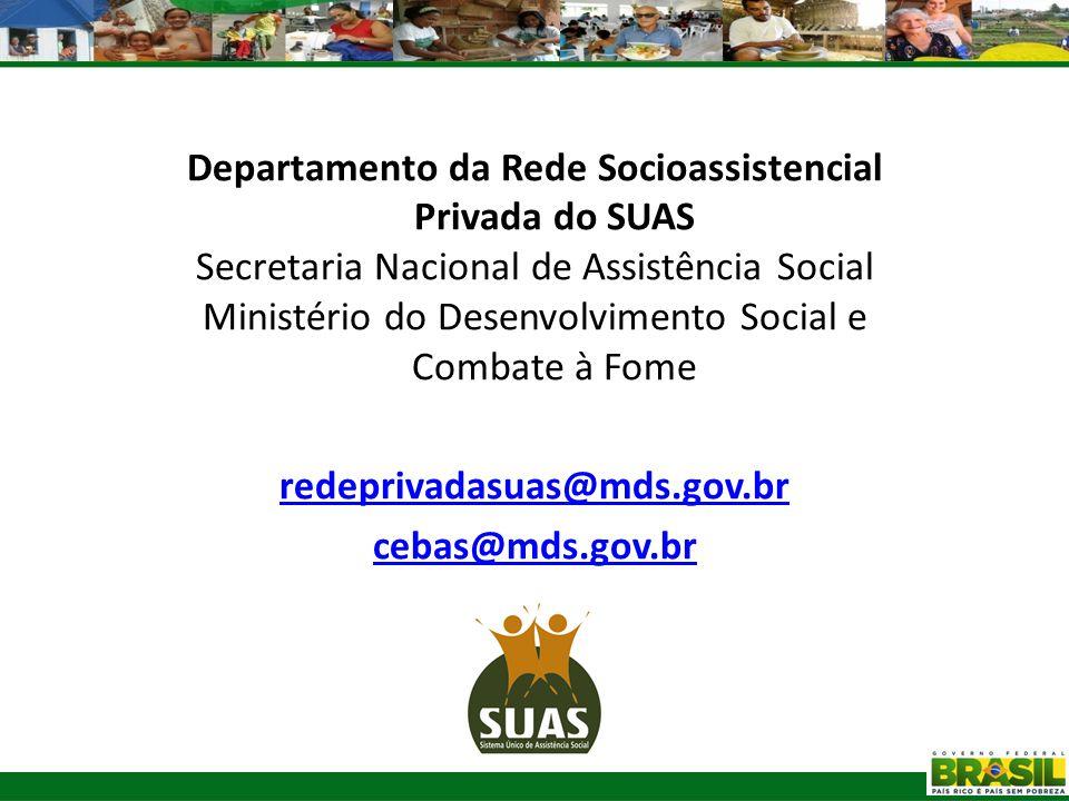 Departamento da Rede Socioassistencial Privada do SUAS Secretaria Nacional de Assistência Social Ministério do Desenvolvimento Social e Combate à Fome