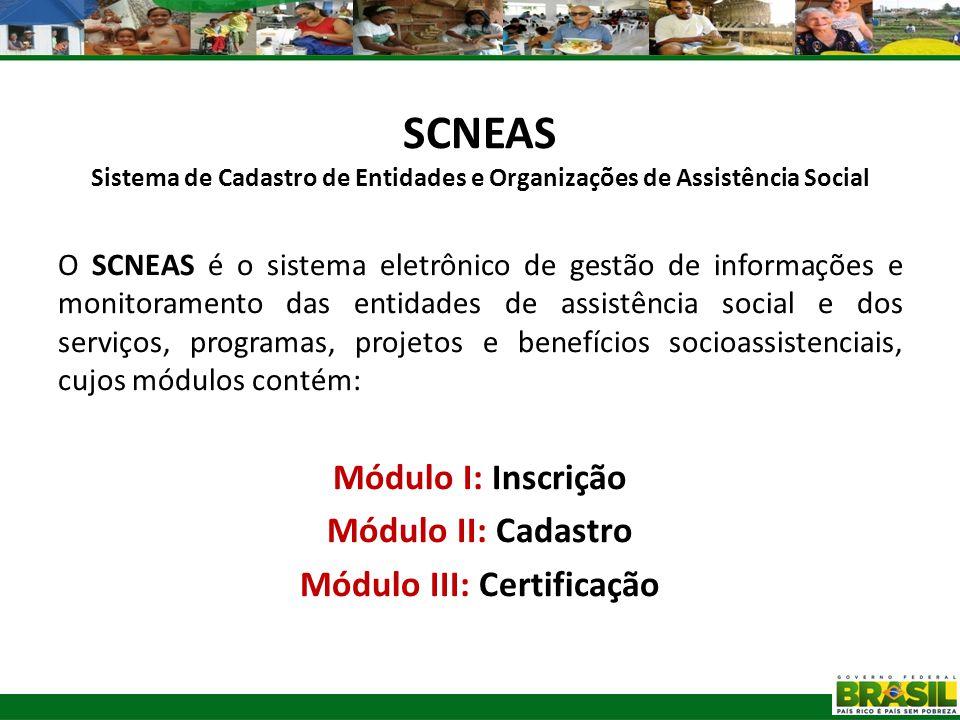 SCNEAS Sistema de Cadastro de Entidades e Organizações de Assistência Social O SCNEAS é o sistema eletrônico de gestão de informações e monitoramento