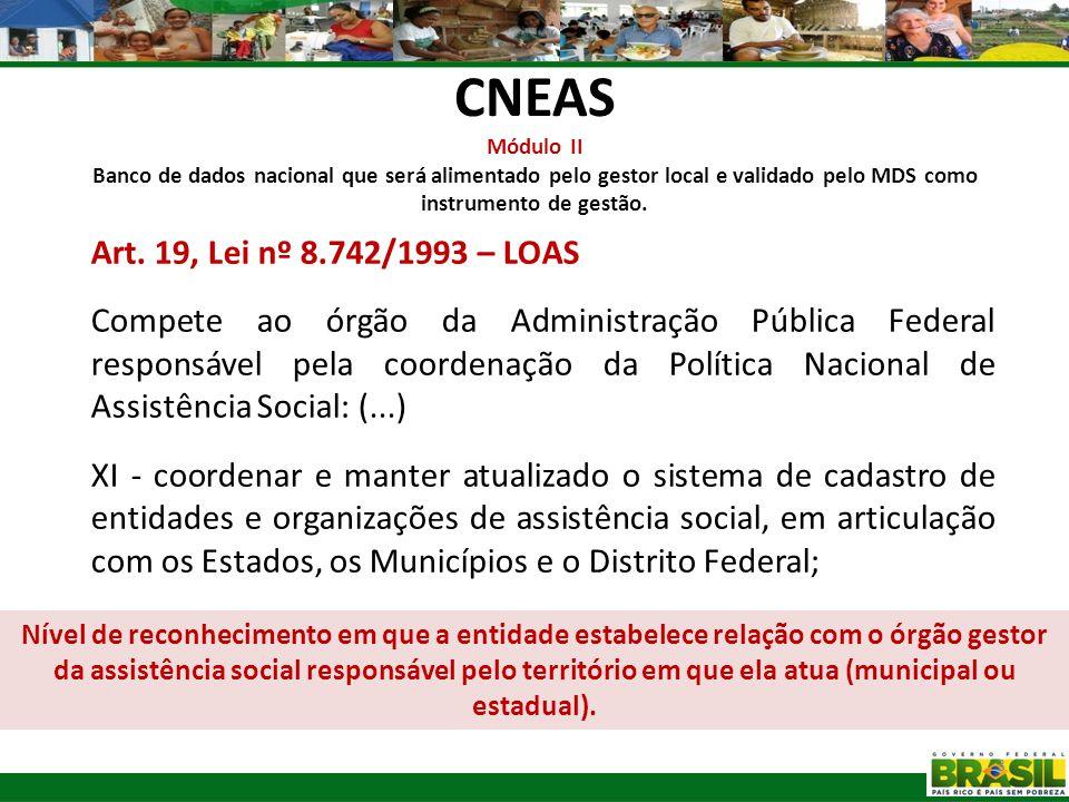 CNEAS Módulo II Banco de dados nacional que será alimentado pelo gestor local e validado pelo MDS como instrumento de gestão. Art. 19, Lei nº 8.742/19