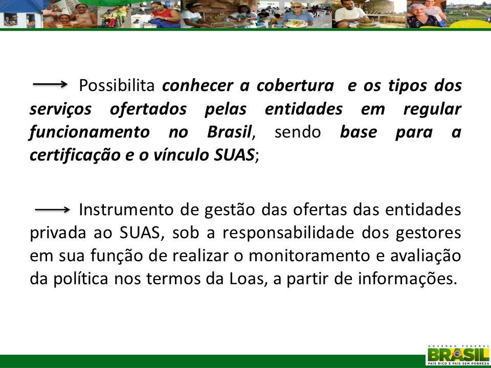 Possibilita conhecer a cobertura e os tipos dos serviços ofertados pelas entidades em regular funcionamento no Brasil, sendo base para a certificação