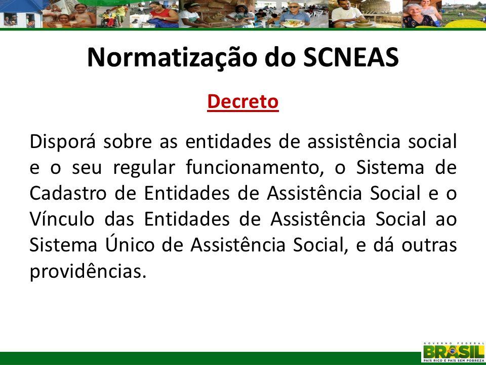 Normatização do SCNEAS Decreto Disporá sobre as entidades de assistência social e o seu regular funcionamento, o Sistema de Cadastro de Entidades de A