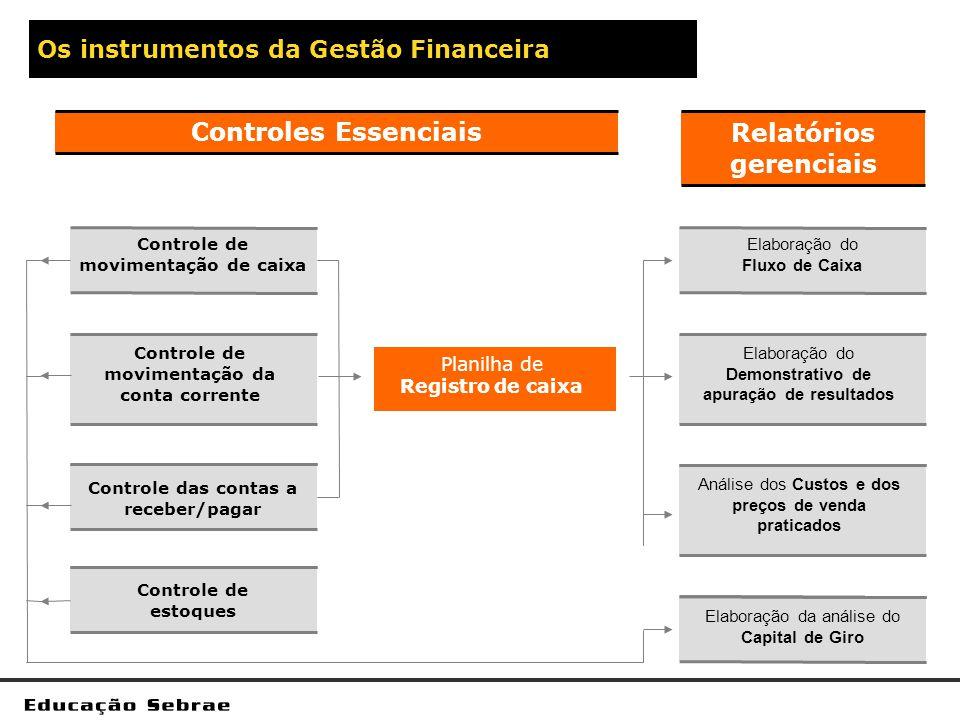 Os instrumentos da Gestão Financeira Planilha de Registro de caixa Elaboração do Fluxo de Caixa Elaboração do Demonstrativo de apuração de resultados