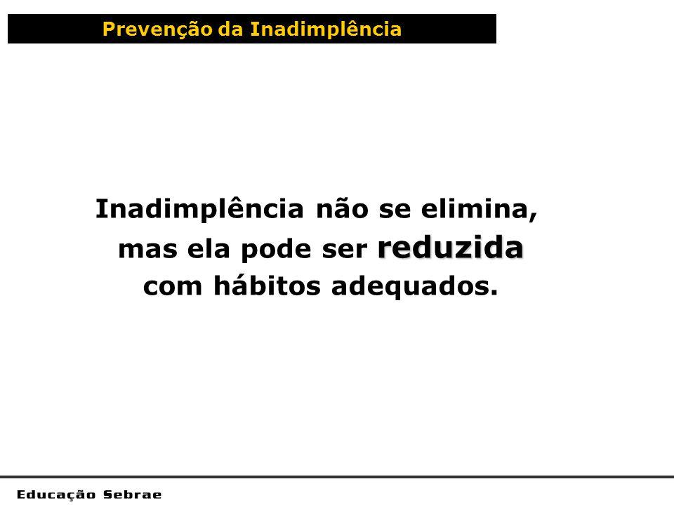 Prevenção da Inadimplência Inadimplência não se elimina, reduzida mas ela pode ser reduzida com hábitos adequados.