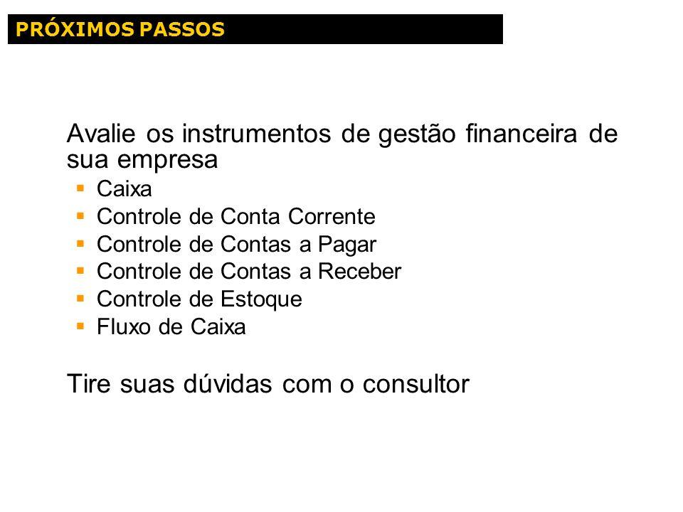 Avalie os instrumentos de gestão financeira de sua empresa Caixa Controle de Conta Corrente Controle de Contas a Pagar Controle de Contas a Receber Co