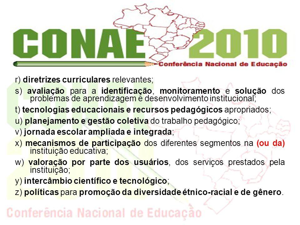 r) diretrizes curriculares relevantes; s) avaliação para a identificação, monitoramento e solução dos problemas de aprendizagem e desenvolvimento inst