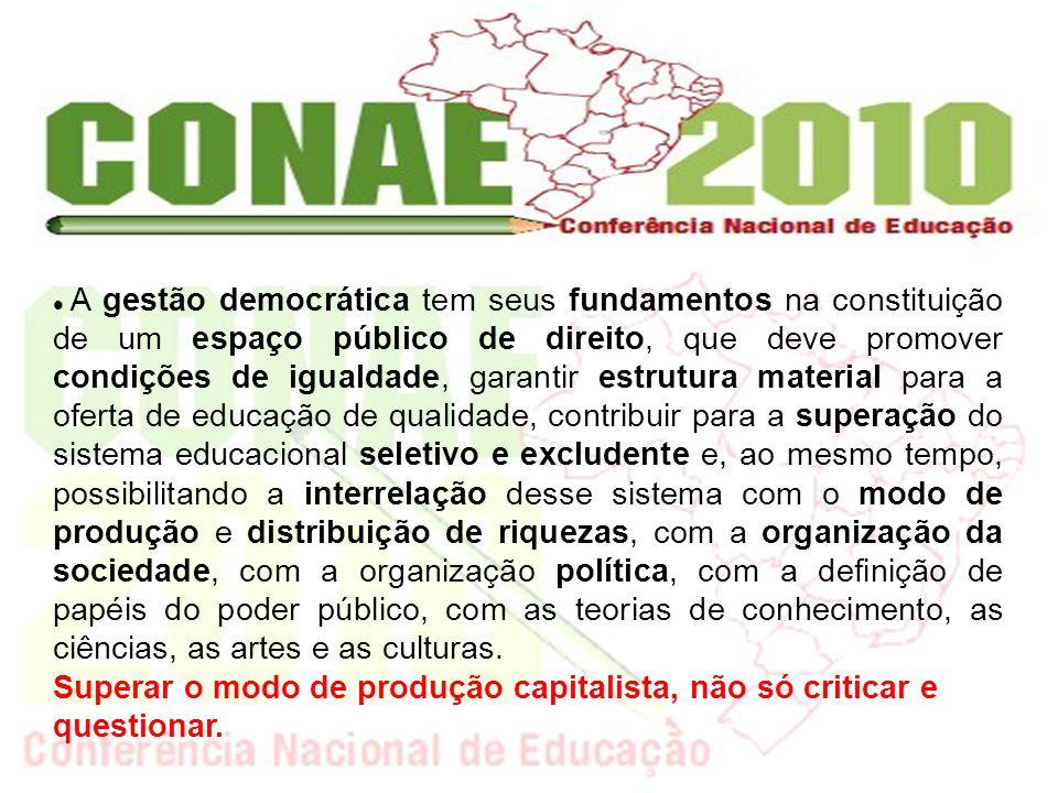 A gestão democrática tem seus fundamentos na constituição de um espaço público de direito, que deve promover condições de igualdade, garantir estrutur