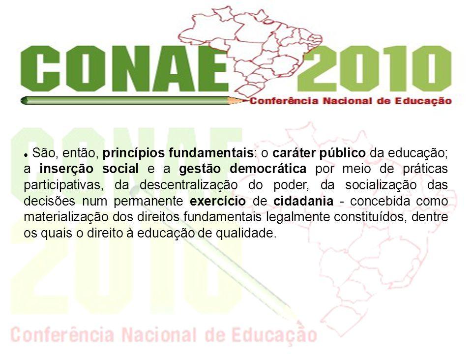 São, então, princípios fundamentais: o caráter público da educação; a inserção social e a gestão democrática por meio de práticas participativas, da d