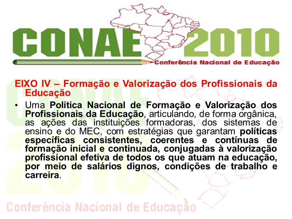 EIXO IV – Formação e Valorização dos Profissionais da Educação Uma Política Nacional de Formação e Valorização dos Profissionais da Educação, articula