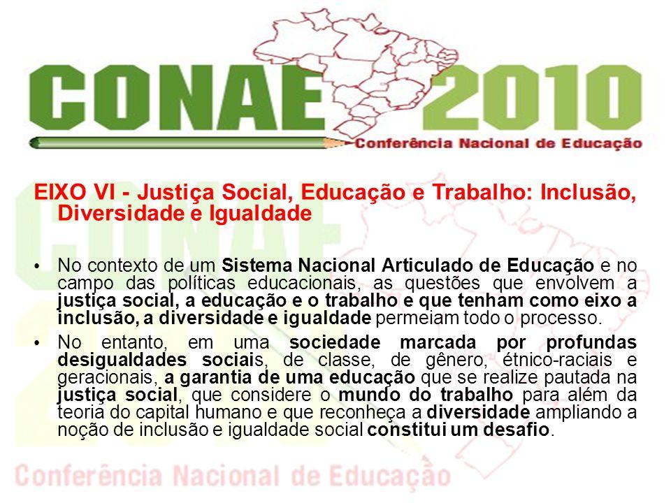 EIXO VI - Justiça Social, Educação e Trabalho: Inclusão, Diversidade e Igualdade No contexto de um Sistema Nacional Articulado de Educação e no campo