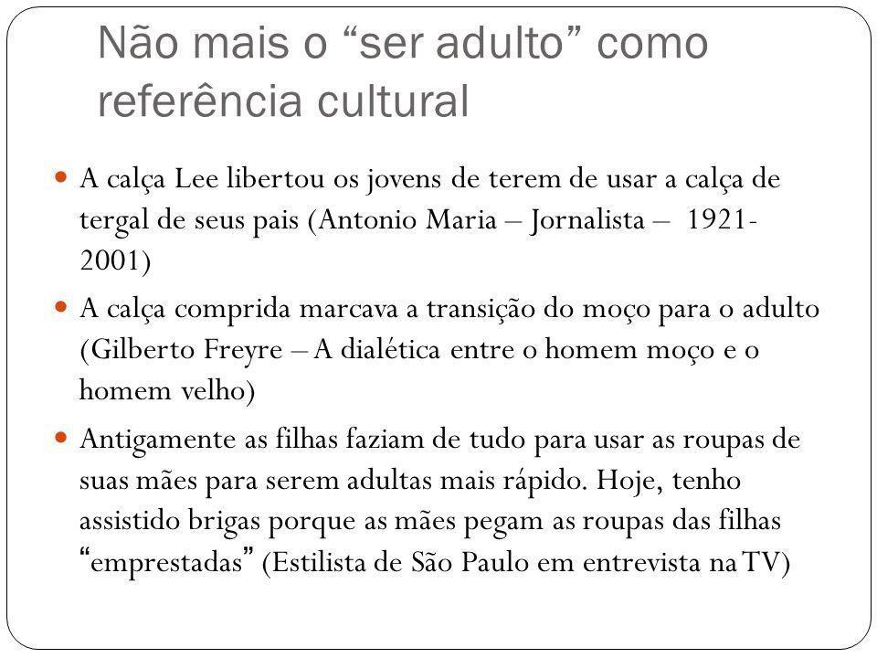 Não mais o ser adulto como referência cultural A calça Lee libertou os jovens de terem de usar a calça de tergal de seus pais (Antonio Maria – Jornali