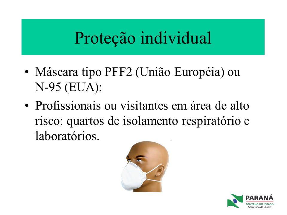 Proteção individual Máscara tipo PFF2 (União Européia) ou N-95 (EUA): Profissionais ou visitantes em área de alto risco: quartos de isolamento respira