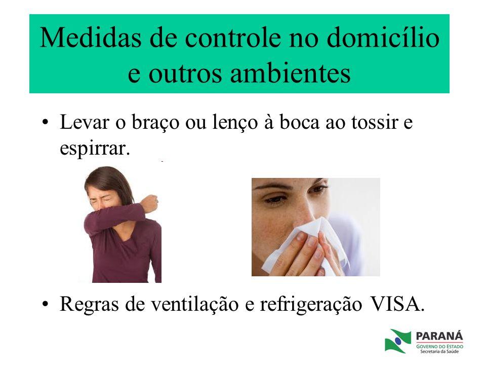 Medidas de controle no domicílio e outros ambientes Levar o braço ou lenço à boca ao tossir e espirrar. Regras de ventilação e refrigeração VISA.