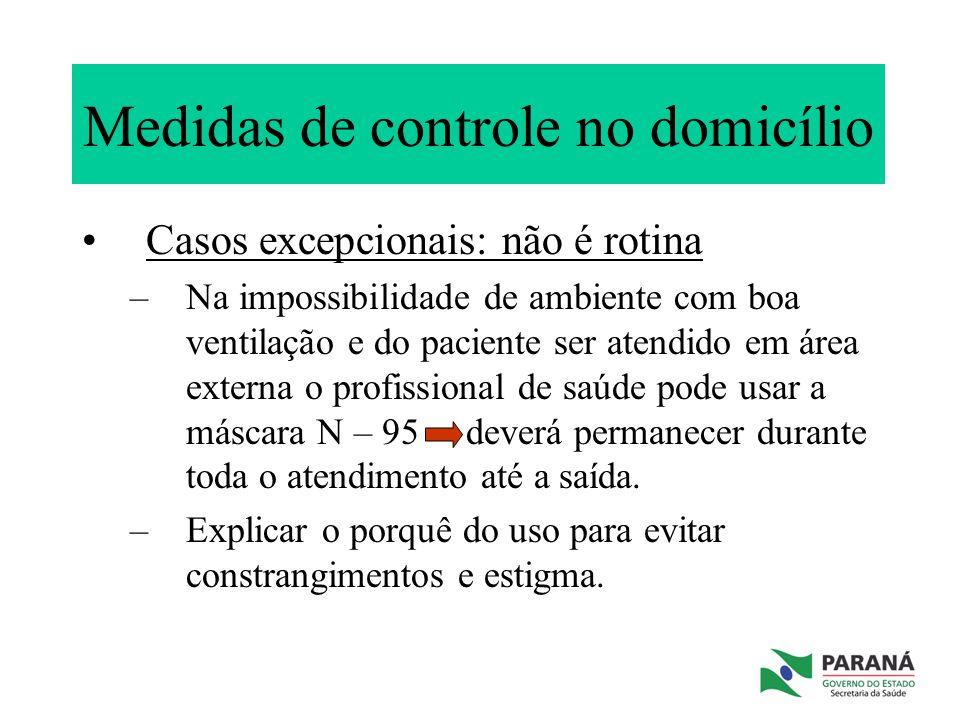 Medidas de controle no domicílio Casos excepcionais: não é rotina –Na impossibilidade de ambiente com boa ventilação e do paciente ser atendido em áre
