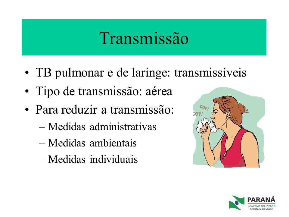 Transmissão TB pulmonar e de laringe: transmissíveis Tipo de transmissão: aérea Para reduzir a transmissão: –Medidas administrativas –Medidas ambienta