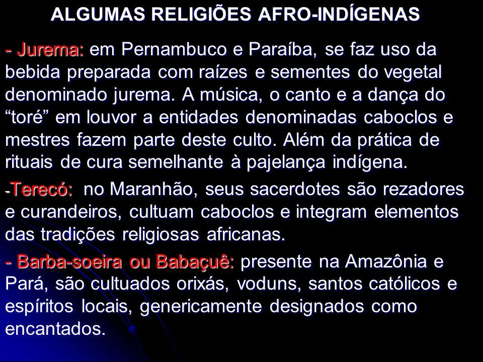 ALGUMAS RELIGIÕES AFRO-INDÍGENAS - Jurema: em Pernambuco e Paraíba, se faz uso da bebida preparada com raízes e sementes do vegetal denominado jurema.