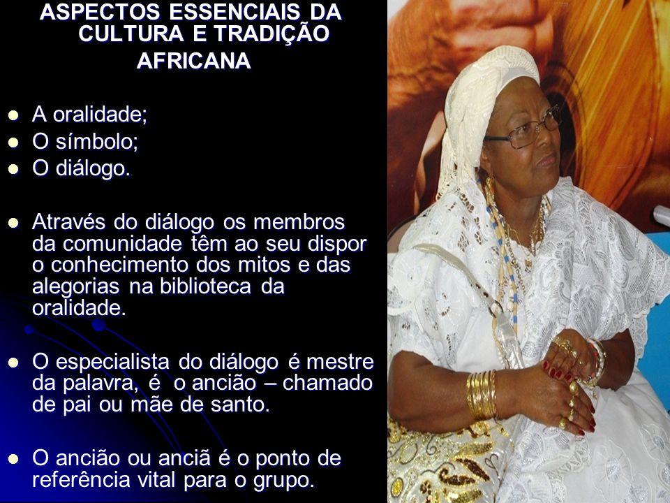 ASPECTOS ESSENCIAIS DA CULTURA E TRADIÇÃO AFRICANA AFRICANA A oralidade; A oralidade; O símbolo; O símbolo; O diálogo. O diálogo. Através do diálogo o