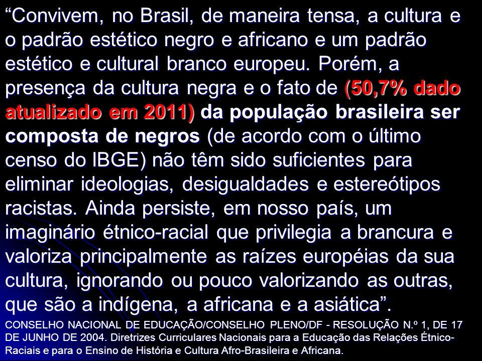 Convivem, no Brasil, de maneira tensa, a cultura e o padrão estético negro e africano e um padrão estético e cultural branco europeu. Porém, a presenç