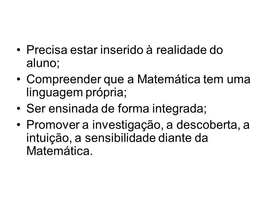 Precisa estar inserido à realidade do aluno; Compreender que a Matemática tem uma linguagem própria; Ser ensinada de forma integrada; Promover a investigação, a descoberta, a intuição, a sensibilidade diante da Matemática.