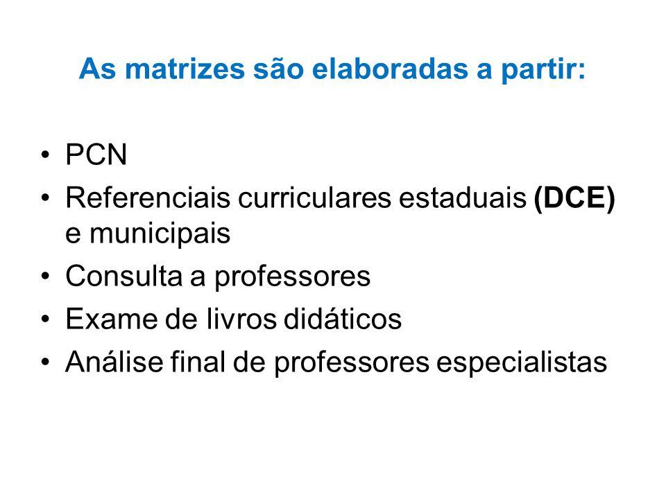 As matrizes são elaboradas a partir: PCN Referenciais curriculares estaduais (DCE) e municipais Consulta a professores Exame de livros didáticos Análise final de professores especialistas