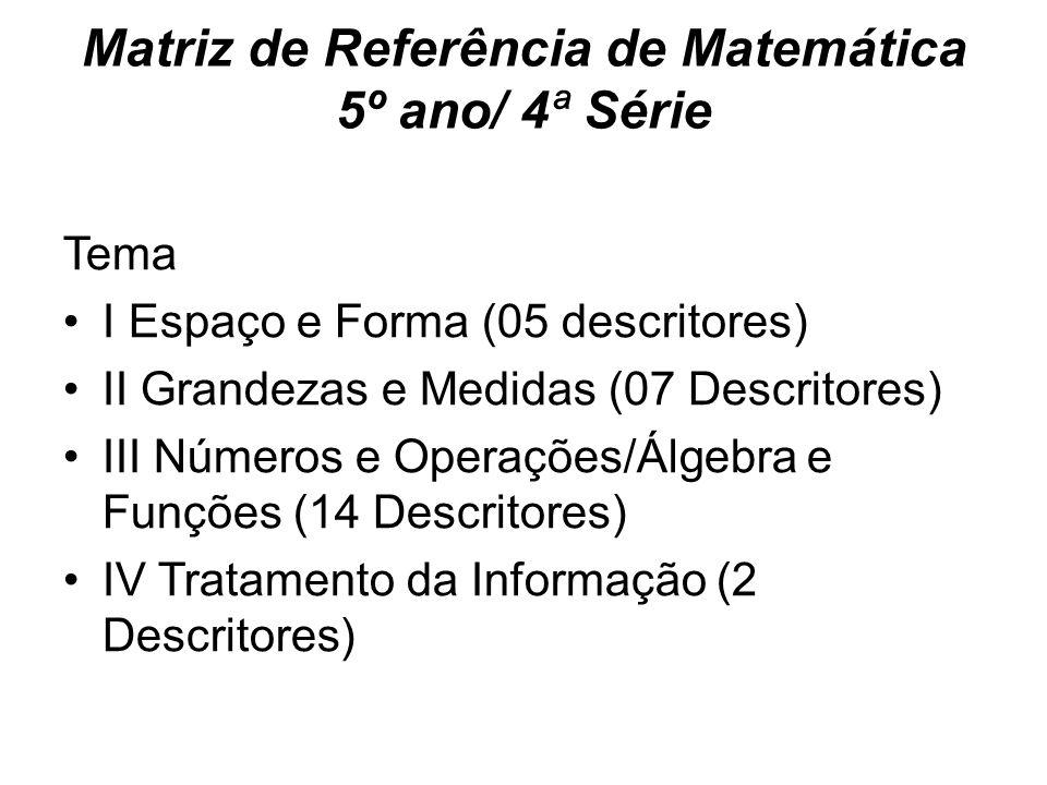 Matriz de Referência de Matemática 5º ano/ 4ª Série Tema I Espaço e Forma (05 descritores) II Grandezas e Medidas (07 Descritores) III Números e Operações/Álgebra e Funções (14 Descritores) IV Tratamento da Informação (2 Descritores)