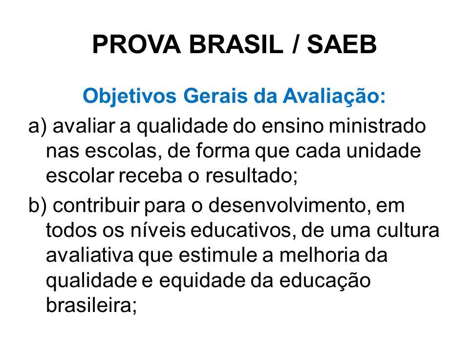 PROVA BRASIL / SAEB Objetivos Gerais da Avaliação: a) avaliar a qualidade do ensino ministrado nas escolas, de forma que cada unidade escolar receba o resultado; b) contribuir para o desenvolvimento, em todos os níveis educativos, de uma cultura avaliativa que estimule a melhoria da qualidade e equidade da educação brasileira;