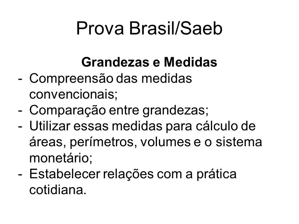 Prova Brasil/Saeb Grandezas e Medidas -Compreensão das medidas convencionais; -Comparação entre grandezas; -Utilizar essas medidas para cálculo de áreas, perímetros, volumes e o sistema monetário; -Estabelecer relações com a prática cotidiana.
