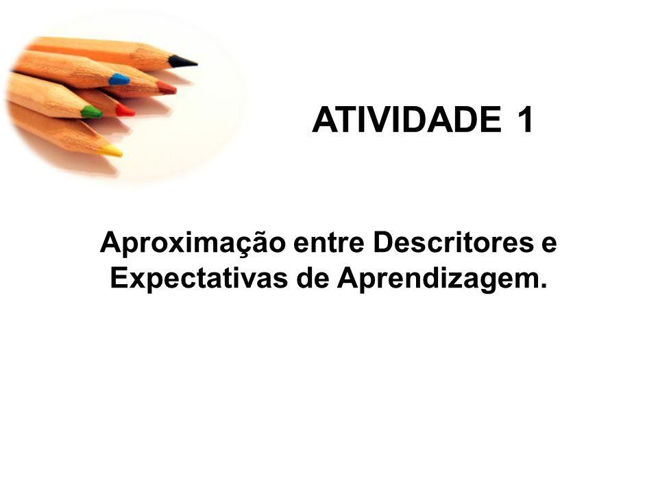 ATIVIDADE 1 Aproximação entre Descritores e Expectativas de Aprendizagem.