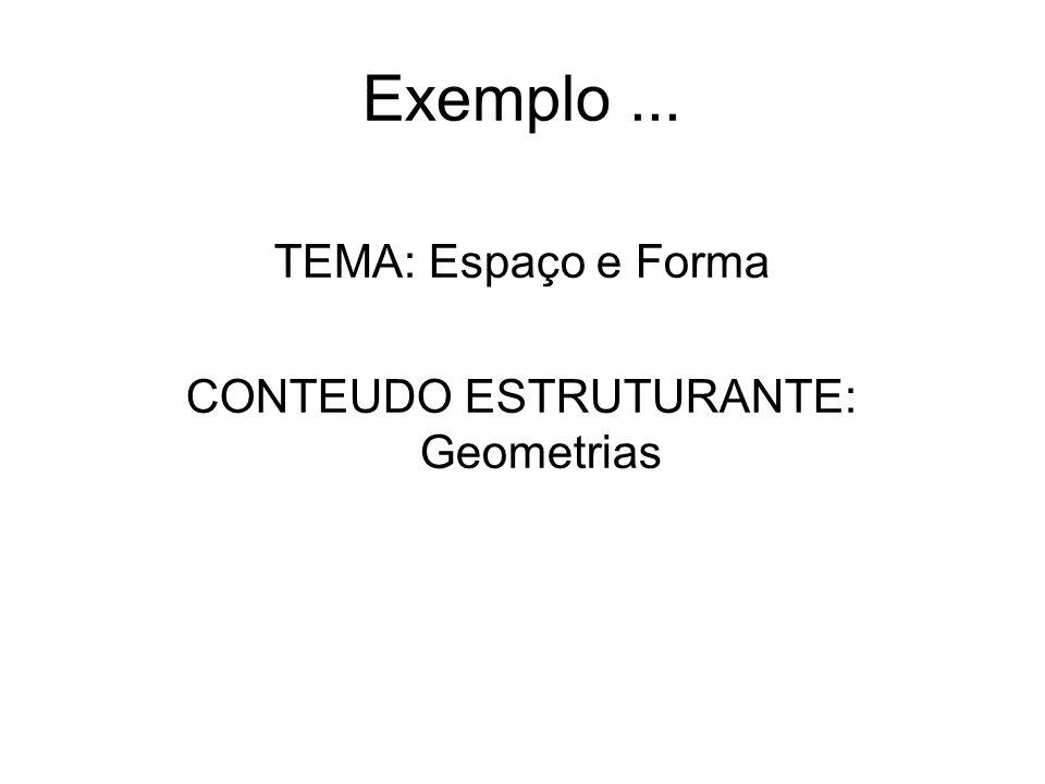 Exemplo... TEMA: Espaço e Forma CONTEUDO ESTRUTURANTE: Geometrias