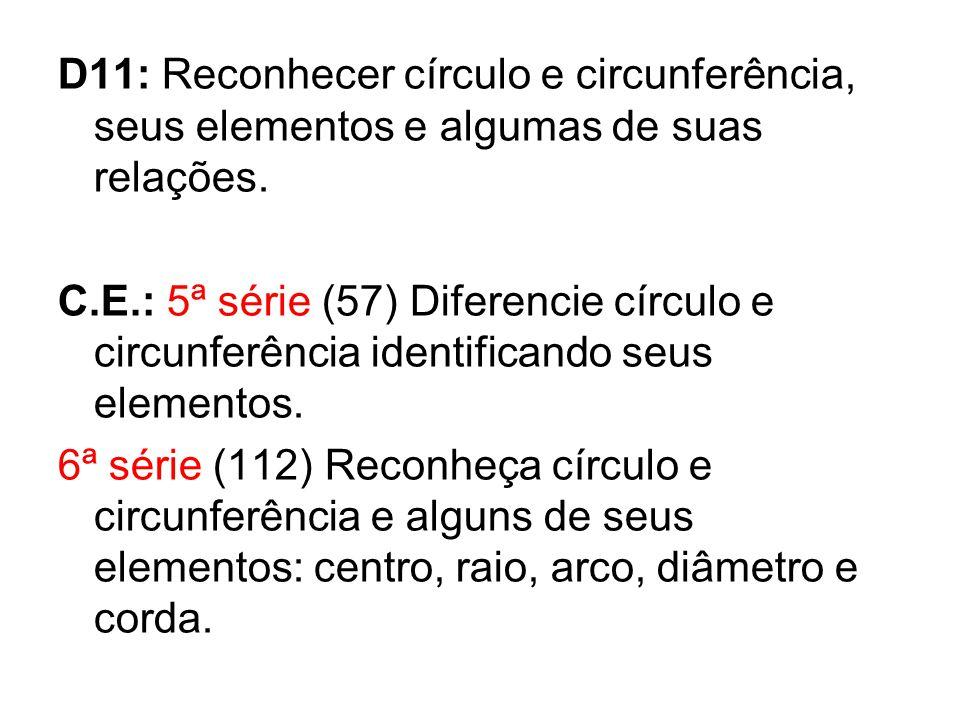 D11: Reconhecer círculo e circunferência, seus elementos e algumas de suas relações.
