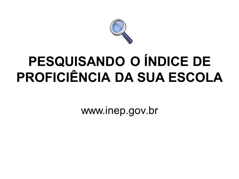 PESQUISANDO O ÍNDICE DE PROFICIÊNCIA DA SUA ESCOLA www.inep.gov.br