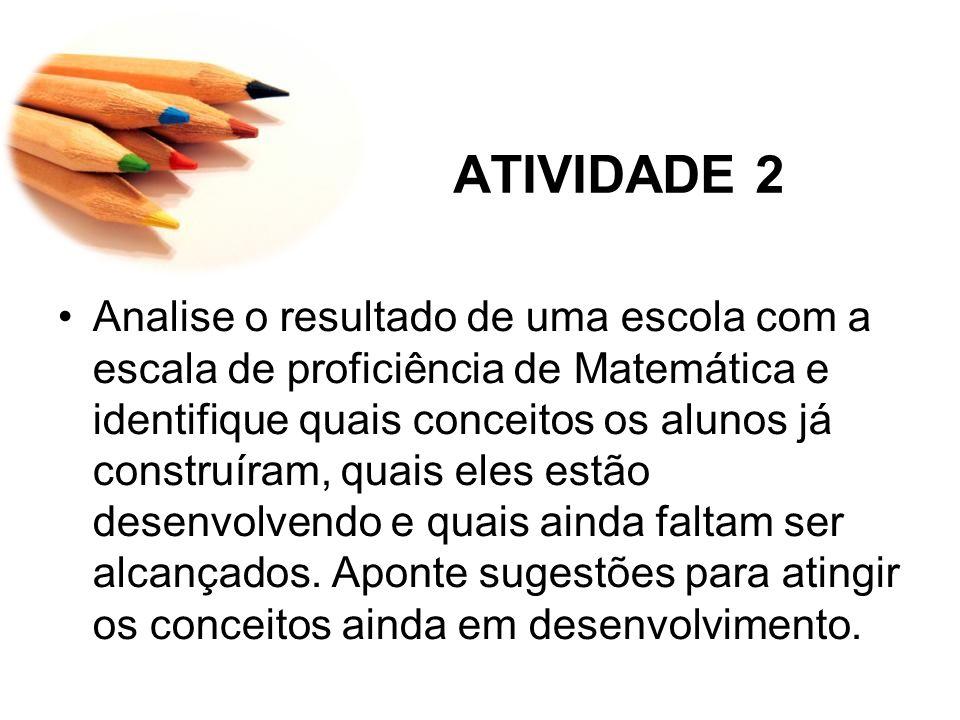 ATIVIDADE 2 Analise o resultado de uma escola com a escala de proficiência de Matemática e identifique quais conceitos os alunos já construíram, quais eles estão desenvolvendo e quais ainda faltam ser alcançados.
