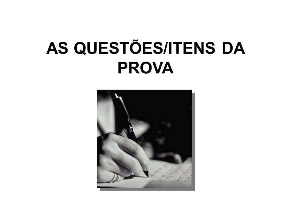 AS QUESTÕES/ITENS DA PROVA
