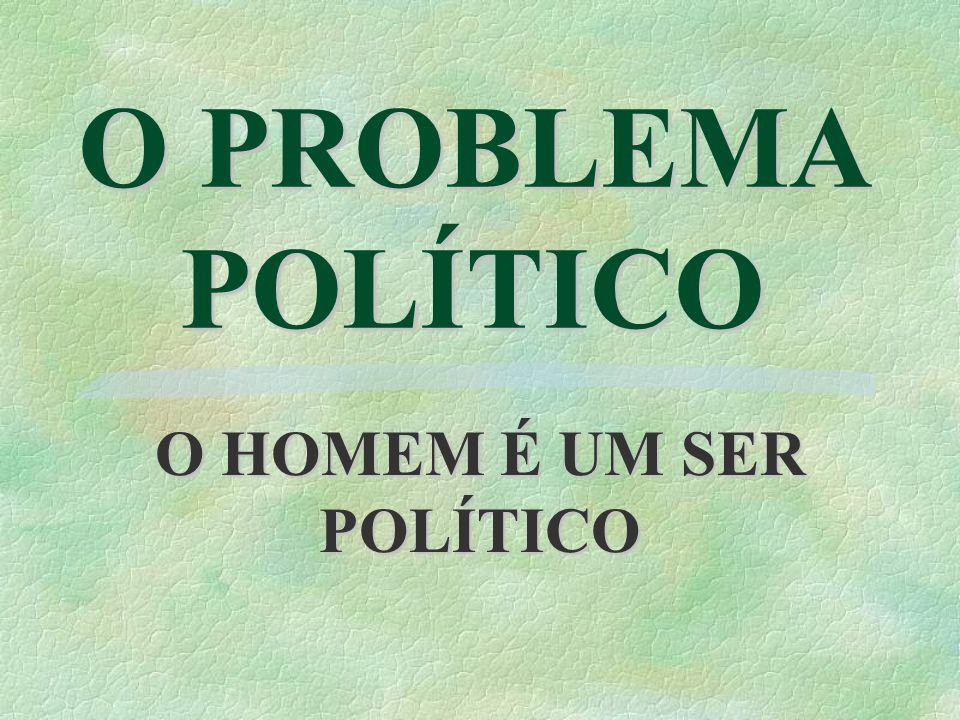 O PROBLEMA POLÍTICO O HOMEM É UM SER POLÍTICO