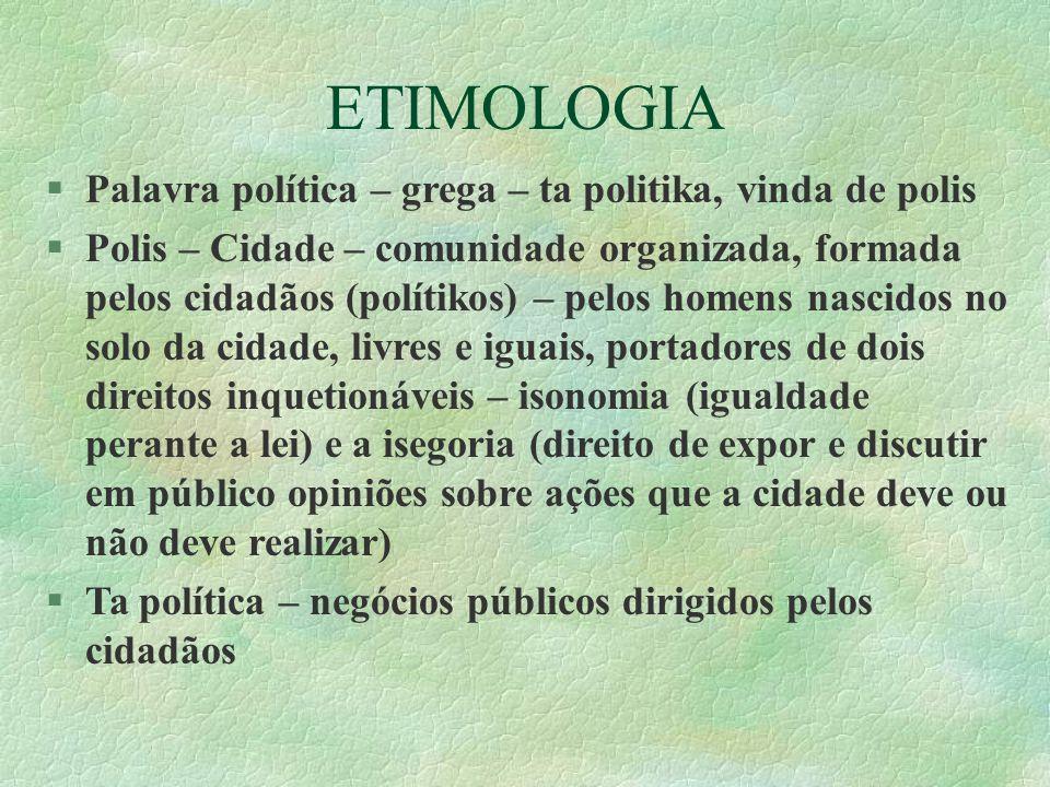 ETIMOLOGIA Palavra política – grega – ta politika, vinda de polis Polis – Cidade – comunidade organizada, formada pelos cidadãos (polítikos) – pelos h