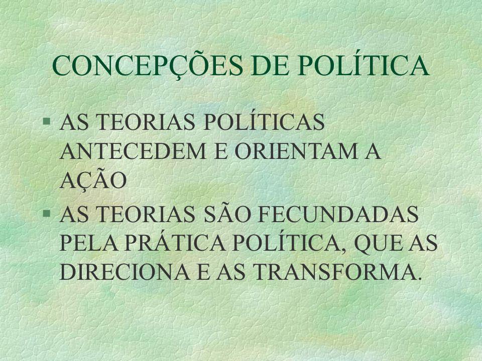 CONCEPÇÕES DE POLÍTICA AS TEORIAS POLÍTICAS ANTECEDEM E ORIENTAM A AÇÃO AS TEORIAS SÃO FECUNDADAS PELA PRÁTICA POLÍTICA, QUE AS DIRECIONA E AS TRANSFORMA.