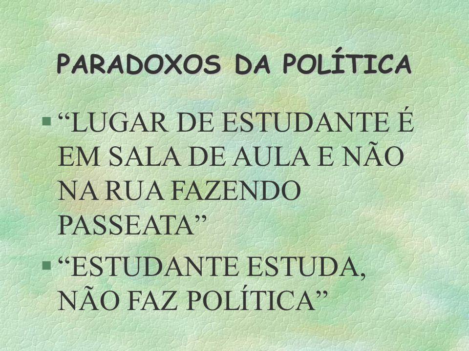 PARADOXOS DA POLÍTICA LUGAR DE ESTUDANTE É EM SALA DE AULA E NÃO NA RUA FAZENDO PASSEATA ESTUDANTE ESTUDA, NÃO FAZ POLÍTICA