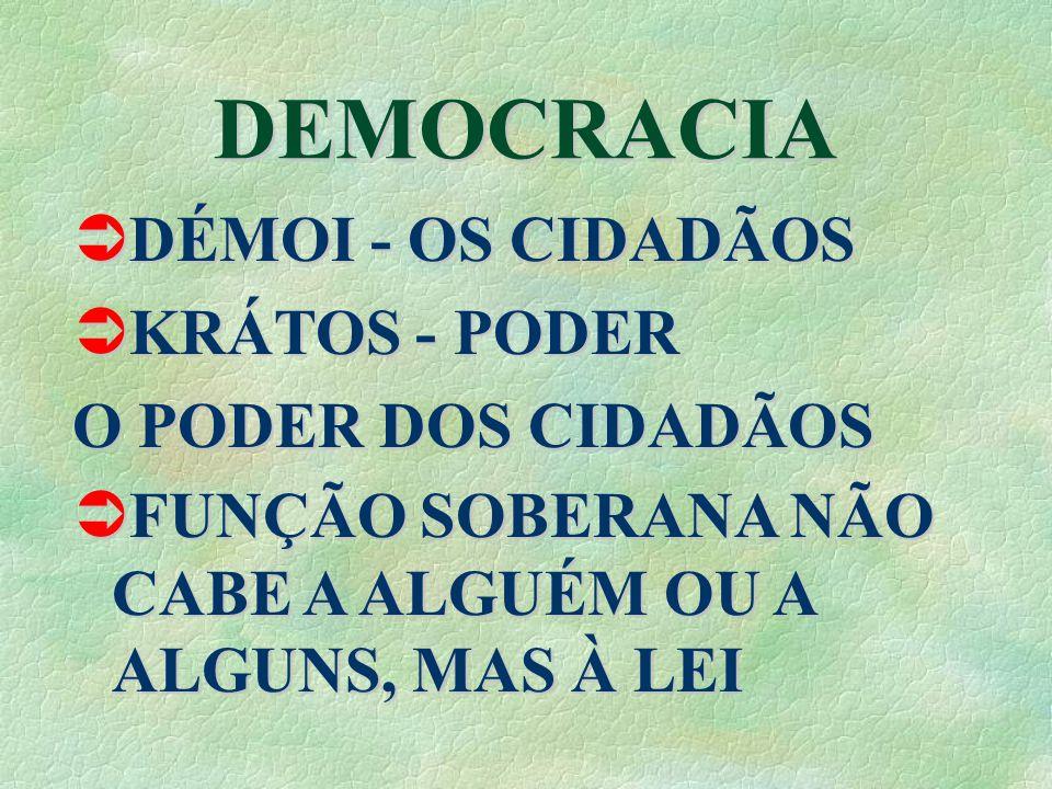 DEMOCRACIA DÉMOI - OS CIDADÃOS DÉMOI - OS CIDADÃOS KRÁTOS - PODER KRÁTOS - PODER O PODER DOS CIDADÃOS FUNÇÃO SOBERANA NÃO CABE A ALGUÉM OU A ALGUNS, MAS À LEI FUNÇÃO SOBERANA NÃO CABE A ALGUÉM OU A ALGUNS, MAS À LEI