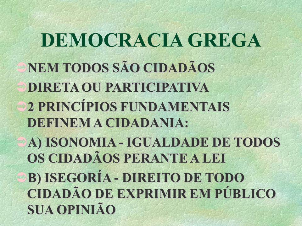 DEMOCRACIA GREGA NEM TODOS SÃO CIDADÃOS NEM TODOS SÃO CIDADÃOS DIRETA OU PARTICIPATIVA DIRETA OU PARTICIPATIVA 2 PRINCÍPIOS FUNDAMENTAIS DEFINEM A CIDADANIA: 2 PRINCÍPIOS FUNDAMENTAIS DEFINEM A CIDADANIA: A) ISONOMIA - IGUALDADE DE TODOS OS CIDADÃOS PERANTE A LEI A) ISONOMIA - IGUALDADE DE TODOS OS CIDADÃOS PERANTE A LEI B) ISEGORÍA - DIREITO DE TODO CIDADÃO DE EXPRIMIR EM PÚBLICO SUA OPINIÃO B) ISEGORÍA - DIREITO DE TODO CIDADÃO DE EXPRIMIR EM PÚBLICO SUA OPINIÃO