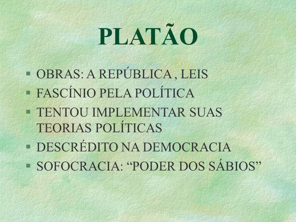 PLATÃO OBRAS: A REPÚBLICA, LEIS FASCÍNIO PELA POLÍTICA TENTOU IMPLEMENTAR SUAS TEORIAS POLÍTICAS DESCRÉDITO NA DEMOCRACIA SOFOCRACIA: PODER DOS SÁBIOS